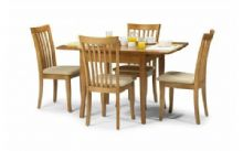 ext table with 4 chairs honey finish